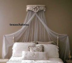 ORNATE ANTIQUE WHITE BED CROWN FRENCH REGENCY BAROQUE VINTAGE STYLE WALL  CANOPY