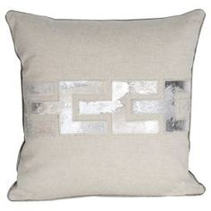 Bring a touch of modern farmhouse style to your d�cor with this eye-catching essential, an enviable addition to your well-appointed home.   Product: PillowConstruction Material: Genuine hide and polyesterColor: Silver grayDimensions: 16 x 16Cleaning and Care: Spot clean