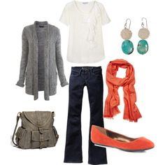Another outfit for fall - grey and orange with a touch of turquoise!