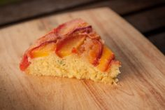 Skillet Cornmeal Cake with Peach Thyme and Lavender. The Peach Truck