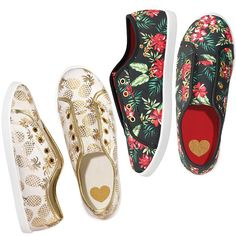 Just $19.99 Slip on some summer! Go for a kick of bold hibiscus print or a neautral metallic pineapple with these tropical slip-on sneakers.Introducing Signature Collection: Effortless style that's totally wearable. Pieces that flatter your shape and fit in comfortably with your lifestyle. That's the heart of Avon's Signature Collection. Designed by Avon. Inspired by you. Meet your new favorite label.FEATURES• Gromments down the front (laceless)• Elastic gore on sides for easy on/off&bull...