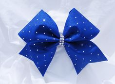 Cheer bow Royal blue with sliver sequins and rhinstone center. cheerbow-cheerleading bow-softball bow-dance bow - pinned by pin4etsy.com