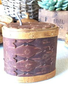 Excited to share this item from my shop: Swedish wooden birch bark midcentury modern wooden container with lid canister storage handcrafted signed Scandinavian swedish Wooden Containers, Birch Bark, Beautiful Patterns, Canisters, Leather Handle, Midcentury Modern, Scandinavian Design, Handicraft, A Table