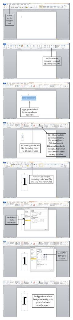 How To Make Mirror Image Text In Word for Iron-on Transfer. Thanks very helpful. Crafts For Teens To Make, Crafts To Sell, Easy Crafts, Diy And Crafts, How To Make Mirror, Mirror Image, Mirror Text, Mirror Mirror, Craft Projects