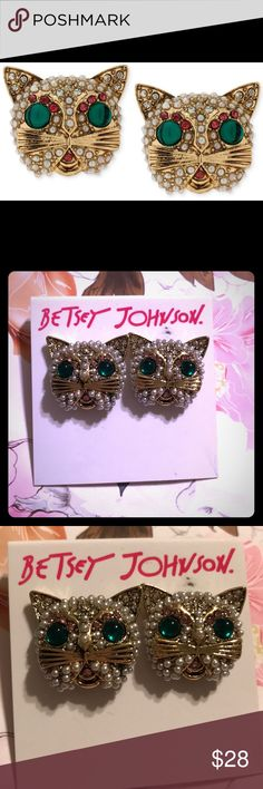 Betsey Johnson Cute Cat Pearl Earrings- NWT✨🐱✨ This is a pair of adorable cat Betsey Johnson stud earrings. They are gold tone and are covered in tiny little pearls with green rhinestone eyes and a little pink rhinestone for the mouth. They remind me of my favorite internet cat, Lil Bub. They are a little larger than a 1/2 inch tall.  I give a little free gift to anyone who purr-chases something from my closet as my way of saying Thank Mew! 😸💜 Betsey Johnson Jewelry Earrings