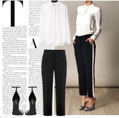 """White shirt, black pants"" by endimanche ❤ liked on Polyvore"