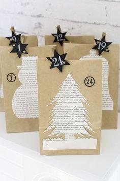 Advent Mini Boîtes Kraft Marron étoiles d/'or pack de 24 Créez votre propre calendrier