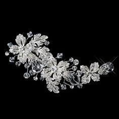 Fabrizia Swarovski Crystal Bead and Rhinestone Flower Wedding Bridal Tiara Hair Clip -- More info could be found at the image url.