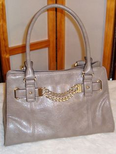 e4eff6ba9 Anne Klein Gray Faux Leather W/ Chain Deco Handbag or Shoulder Bag Purse  #AnneKlein