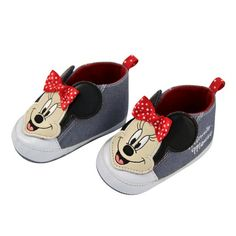 Baby Girls' Disney Minnie Mouse Crib Shoes - Grey