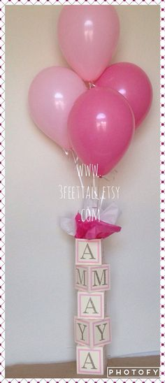 Baby shower centerpiece alphabet block centerpiece by 3FeetTall, etsy,