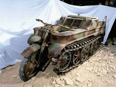 German half-track. A Motorcycle front wheel and tracks for driving in the mud