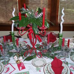 Christmas table setting vintage style