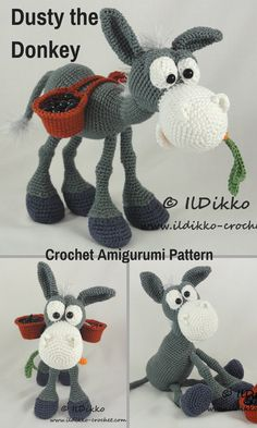 Dusty the Donkey is a cute crocheted amigurumi doll that likes to carry things in his baskets. You can create your own Dusty the Donkey with this downloadable pattern. #crochet #amigurumi #crochetdoll #ad #amigurumidoll #amigurumipattern #donkey #instantdownload