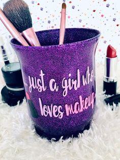 Your place to buy and sell all things handmade Makeup Brush Storage, Makeup Brush Set, Makeup Organization, Vinyl Crafts, Resin Crafts, Makeup Jars, Vinyl Tumblers, Cup Crafts, Makeup Brush Holders