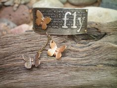 butterfly bracelet etched metal jewelry by RescuedAngelsStudio Not really crazy about the dangly butterflies but....easily offed
