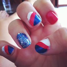 Break Out the Red, White, and Blue Here's the Cutest 4th of July Nail... ❤ liked on Polyvore featuring nails, nail polish, nail art, makeup and beauty