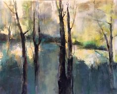 Contemporary Abstract Landscape Painting Tranquil Beginnings by Intuitive Artist Joan Fullerton -- Joan Fullerton
