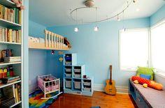 Innovative Designer Ideen fürs Kinderzimmer gitarre blaue wände
