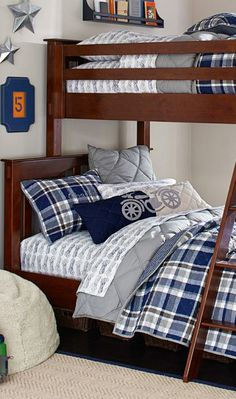 Charlie Plaid Quilted Boys Room Bedding #kids #bedrooms