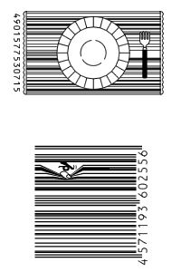 Barcode Artwork - different things you can do with barcodes to make them a little more interesting. Barcode Art, Barcode Design, Graphic Design, Service Assiette, White Bar, Chocolate Packaging, Media Kit, Menu Design, Art Plastique