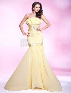 Trumpet/ Mermaid Strapless Sweep/ Brush Train Chiffon Evening Dress - US$ 249.99