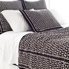 RESIST TILE JAVA COVERLET Inspired by traditional Indian kantha quilts, this cotton coverlet features a block-style print on a bark-colored background and constrast top stitching. Pine Cone Hill Bedding, Caldwell House, Rustic Quilts, Fine Linens, Bedroom Bed, Cottage Chic, White Cottage, Bed Spreads, Surface Design