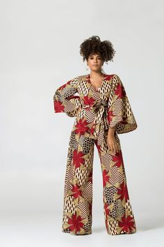 Breathing new life into your everyday wardrobe, this bold, daring, and colourful African Print Jumpsuit with pockets and for a fuller figure has been designed African Print Jumpsuit, Ankara Jumpsuit, African Print Clothing, African Prints, African Print Fashion, Africa Fashion, African Fashion Dresses, African Attire, African Wear
