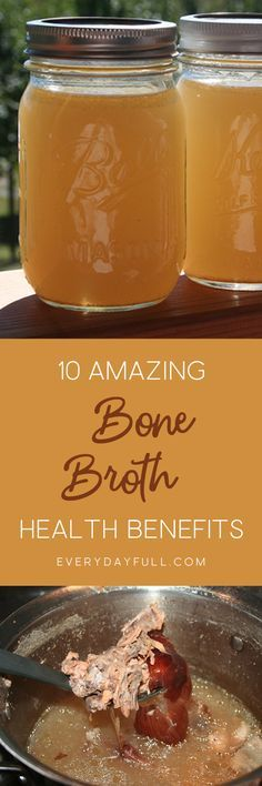 10 AMAZING HEALTH BENEFITS OF BONE BROTH - Bone broth has many health benefits and is essential for keeping a healthy gut. It boosts your immune system and is the perfect go to when you're sick. Improve the look of your hair, nails and skin and even reduc