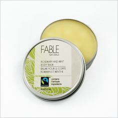 Multipurpose Body Balm moisturizes and protects with beeswax and organic oils. 145 g (1.6 oz) tin. Made in Vancouver from fair trade ingredients imported from fair trade producers around the world. No parabens or artificial colours or fragrances Choose Rosemary-Mint or Lemon-Lavender. $10 each. http://www.fairplanet.ca/shopping/pgm-more_information.php?id=362&=SID