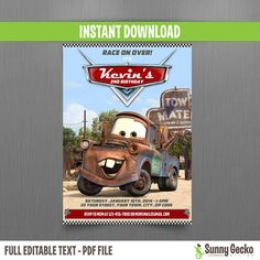 Disney Cars Mater Birthday Invitation - Instant Download by SunnyGeckoDesign, $10.00