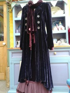 Out of Xile Long Dress Coat Silk Mix Velvet Lagenlook Hippy Boho Steampunk 2 | eBay