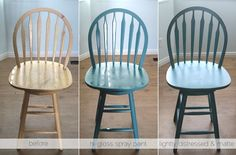 It's Always Autumn: Refinishing oak barstools. Just picked up 3 on the side of the road that are in mint condition. The oak HAS to go. Two-tone maybe?