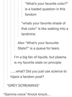 Everything about this. I love everything about this post. And I think a lot of questions in this fandom are loaded. RvB.