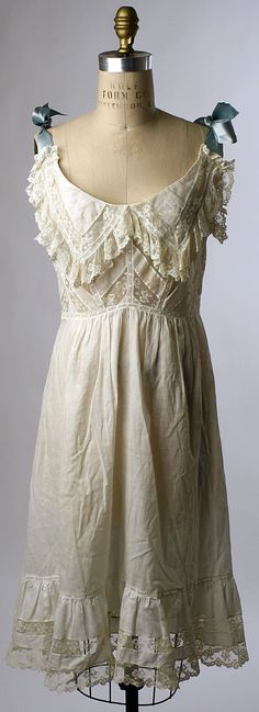 Chemise Date: ca. 1900 Culture: American Medium: cotton Dimensions: [no dimensions available] Credit Line: Gift of Mrs. Agnes Kremer, 1938 Accession Number: Adorable, sultry, and comfortable. Why don't they make them like this today? 1900s Fashion, Edwardian Fashion, Vintage Fashion, Edwardian Era, Lingerie Vintage, Vintage Underwear, Style Édouardien, Mode Style, Retro Mode