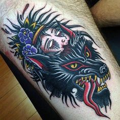 Black Devil And Head Traditional Tattoo Mens Forearms