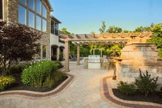 Private Residence Concrete Pavers, Bbq Grill, Pond, Swimming Pools, Waterfall, Mansions, House Styles, Building, Courtyards