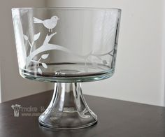 Glass Etching | Make It and Love It. Use contact paper or vinyl stencil cutouts and Armour Etch cream. Such an easy and sweet little touch that you can add to any glass.