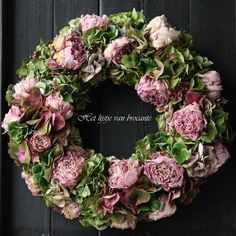 Home made wreath  with dried peonies and hydrangeas....WONDERFUL
