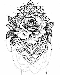 Rose tattoo on back, tatoo rose, rose drawing tattoo, mandala tattoo Neue Tattoos, Body Art Tattoos, Sleeve Tattoos, Cool Tattoos, Tatoos, Tattoo Drawings, Tattoos Bras, Tribal Tattoos, Flower Drawings