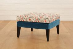 Try the sofa.com club footstool in contrasting fabrics! Deep Turquoise cotton mat velvet on the base and designer fabric up top - starts at $310