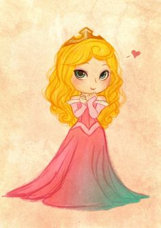 Aurora is my favorite Classic princess. I prefer her in her blue dress though.) --- I always have a hard time with this pose in chibi size. Disney Dream, Disney Love, Disney Magic, Aurora Disney, World Disney, Disney Fan Art, Disney And Dreamworks, Disney Pixar, Disney Characters