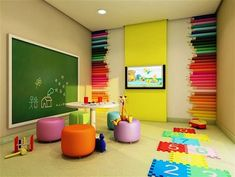 This is a great wall decoration for play area Daycare Design, Playroom Design, Playroom Decor, Kids Room Design, Kids Decor, Playroom Storage, Kindergarten Interior, Kindergarten Design, Sunday School Decorations