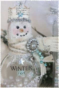 Snowman jar or ornament