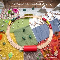 See how to create a stunning playscape for your train track and take your trains on an adventure through the four seasons. This four seasons train track small world was inspired by the amazing book Old Tracks, New Tricks by Jessica Petersen. Winter Activities For Kids, Preschool Activities, Small World Play, Wooden Train, Creative Teaching, Train Tracks, Reggio, First Day Of School, Four Seasons