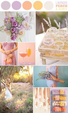 wedding color combination: Lavender, Peach & Honey (aka purple, yellow and peach)