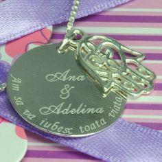 Colier din argint cu charm Fatima si banut personalizat prin gravura Paste, Alex And Ani Charms, Heart Charm, Charmed, Bracelets, Jewelry, Etchings, Jewlery, Bijoux