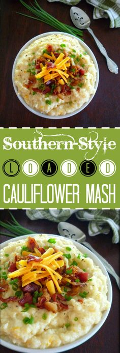 Deliciously creamy Loaded Cauliflower Mash made with a touch of real butter, sour cream, white cheddar cheese, topped with bacon, scallions, and a mild cheddar cheese that will have you thinking you are not missing those Loaded Mashed Potatoes laden in extra calories one bit.
