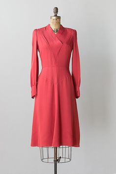 vintage 1970s 30s inspired coral red silk dress