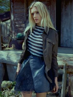 Lily Donaldson poses in the countryside for Elle UK August 2015 by Kai Z Feng [Editorial]